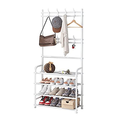 Plasaig Perchero de entrada con estante de almacenamiento para zapatos de 4 niveles con capacidad de suspensión y almacenamiento (60 x 26 x 153 cm), color blanco