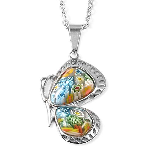 Shop LC Delivering Joy Butterfly Flower Pendant Necklace Murano Style Millefiori Glass Green Side Stainless Steel Chain for Women Graduation Gifts for Her Fashion Jewelry Unique 20