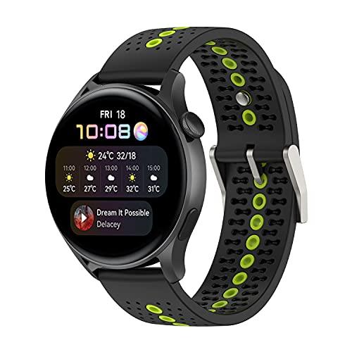 BoLuo 22mm Correa para Huawei Watch GT2 Pro, Bandas Correa Repuesto,Silicona Reloj Recambio Brazalete Correa para Huawei Watch GT2 46mm/Watch GT 42mm/GT 46mm/watch GT2 Pro/GT 2e Watch (limón)