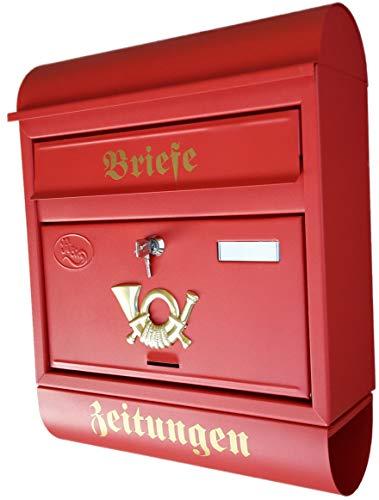 P&D Großer Briefkasten/Postkasten XXL Rot Matt Runddach mit Zeitungsrolle und Befestigungsmaterial