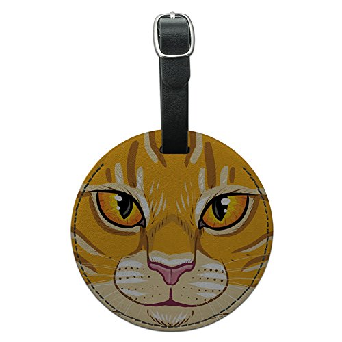 Graphics & More Orange Tabby Cat Face Pet Kitty Round Leather Luggage Id Tag Suitcase Carry-on, Black