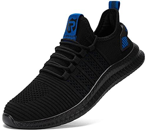 LARNMERN Zapatillas de Deporte Hombres Transpirables Running Zapatos para Correr y Asfalto Aire Libre y Deportes Calzado Gimnasio Sneakers(Azul Negro 43)