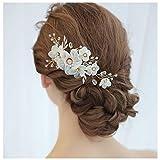 HONEY BEAR donna clip pettine per capelli,gioielli da sposa,accessori per capelli sposa,gioielli a forma di fiore con finte perle e strass (Fiore B)