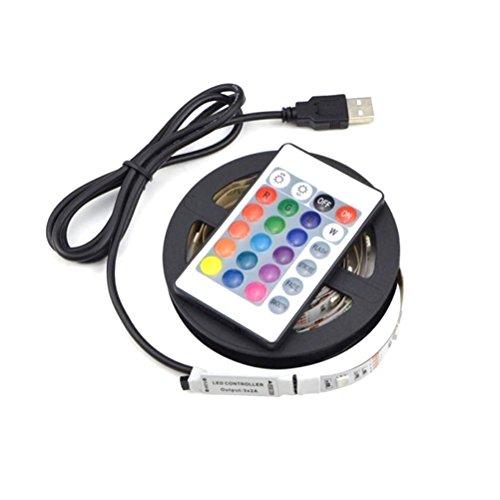 Uonlytech 5 V impermeable SMD 5050 60 LED 2 M RGB LED tiras de luz Set flexible cinta adhesiva para la decoración de Clubpartys en interiores con mando a distancia por...