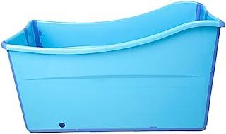 W WEYLAN TEC Large Foldable Bath Tub Bathtub For Adult Children Baby Toddler Blue