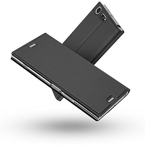 Radoo Coque Sony Xperia XZ Premium, Ultra Mince en Cuir PU Premium Housse à Rabat Portefeuille Coque Étui de Bumper Folio à Clapet avec [Fermoir Magnétique] pour Sony Xperia XZ Premium (Gris-Noir)