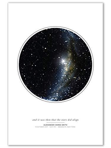 Custom Personalized Night Sky Star Map Poster, Unframed Print