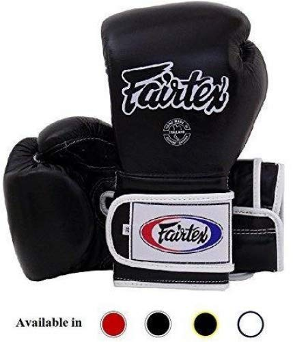 Fairtex Muay Thai Boxing Gloves BGV9 - Heavy Hitter Mexican Style - Minor Change Black with Yellow Piping 12 14 16 oz. Training & Sparring Gloves for Kick Boxing MMA K1 (Black w/White Piping, 12 oz)