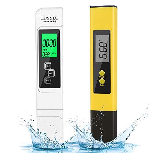 HAUSPROFI Medidor de pH Digital TDS EC con Pantalla LCD PH de Temperatura 4 en 1 Set de Comprobador de Calidad de Agua, Medidor Digital de pH para Agua Potable, Alimentos, Piscinas etc