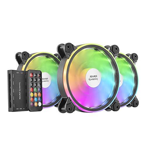 MARSGAMING MFXKIT, Kit 3 Ventiladores ARGB MFX+Mando RF, Ultra-silencioso, Negro