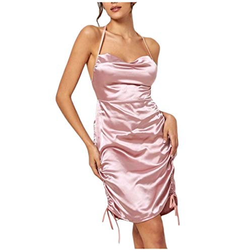 12shage Damen Nachthemd Sexy Negligee Frau Nachtwäsche Satin Kleid Lingerie Nachtkleid Rückenfrei Sleepwear Unterwäsche (Rosa, 3XL)