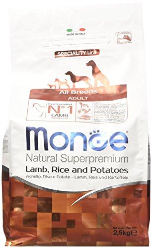 Monge All Breeds Agn./Riso/Patate Kg. 2.5, Alimento Completo Per Cani Adulti Di Taglia Media
