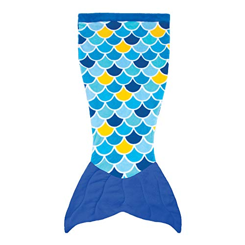 Fin Fun Mermaid Tail Blanket for Girls - Cuddle Tail Slumber Bag (Wave Blue, Adults)