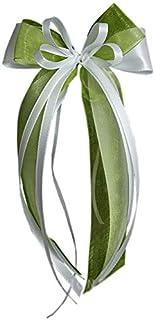 Antennenschleife Autoschleife Autoschmuck Hochzeit SCH0053 weiß grün 10 Stück