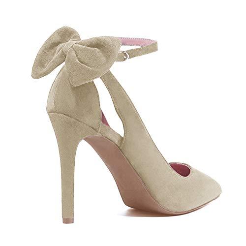 Tomwell Sandalias Mujer Arco Tacón Alto Zapatos Apuntado Zapatos Boda Fiesta Zapatos Beige 34 EU