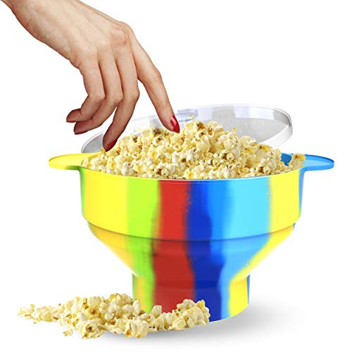 Silicone Popcorn Popper, Microwave Popcorn Maker, Collapsible Bowl With Lid and Handles - Hot Air Popcorn Bowl