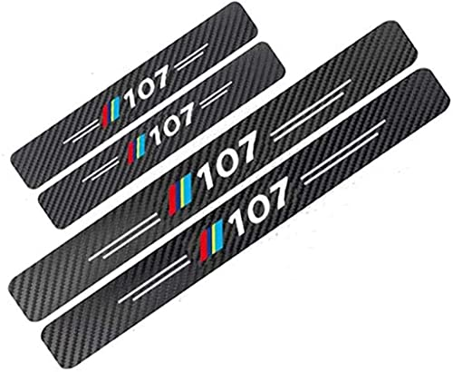 Fibra Carbonio Auto Davanzale Battitacco per Peugeot 106 107 108 307 508, Esterno Batticalcagno Protezione Pedale Calci Styling Accessorio