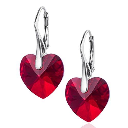 LillyMarie Pendientes para mujer plata de ley 925, con Elementos Swarovski rojo, Corazón, con caja de joyas