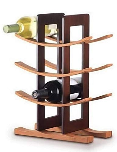 Sywlwxkq Estante de Vino de Metal montado en la Pared de Madera, Soporte de Botellas de Soporte de Madera de Pino importada, Capacidad para 12 Botellas, decoración para el hogar y la Cocina