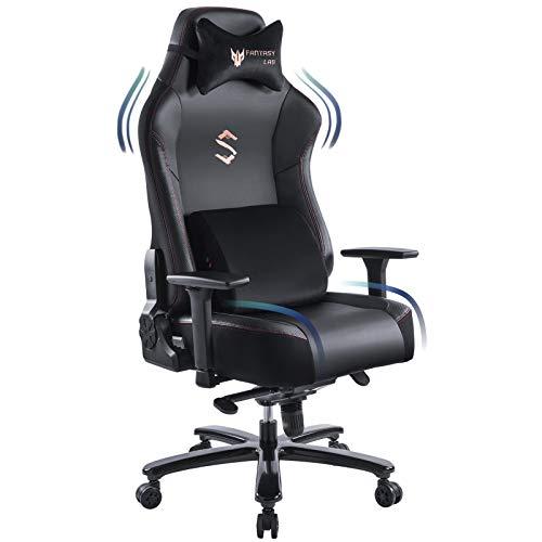FANTASYLAB Big and Tall 400lb Massage Memory Foam Gaming Chair - Adjustable Tilt, Back Angle and 3D Arms High-Back Leather Racing Executive Computer Desk Office Chair, Metal Base, Black