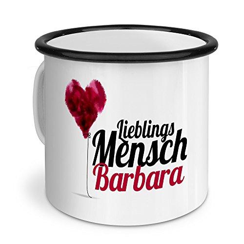 printplanet Emaille-Tasse mit Namen Barbara - Metallbecher mit Design Lieblingsmensch - Nostalgie-Becher, Camping-Tasse, Blechtasse, Farbe Schwarz