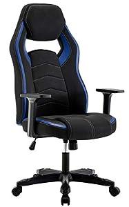 IntimaTe WM Heart Computer Stuhl Gaming Stuhl Hoch Rücken, Ergonomischer Computer Racingstuhl, Bürostuhl aus Kunstleder, Verstellbarer Drehstuhl, Blau und Schwarz
