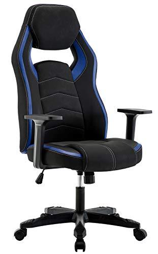 IntimaTe WM Heart Schreibtischstuhl Gaming Stuhl Hoch Rücken, Ergonomischer Computer Chair Racing Gamer Stuhl, Bürostuhl Stoff Verstellbarer Drehstuhl, Blau und Schwarz