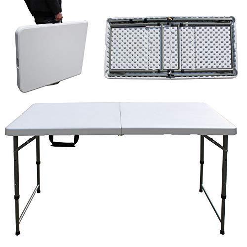Klapptisch, tragbar, für Camping, Picknick, Party, Bankett, Messe, 150 kg Kapazität, 58 cm / 74 cm, Weiß
