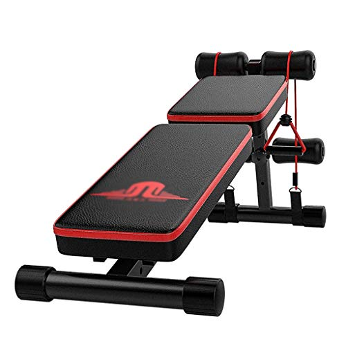 PHH Hantelbank Zu Hause Fitness Stuhl Sit-up Board Bauchtrainer Multi-Funktions-Hantelbank, 6 Höhenverstellung (Color : Black, Size : 134 * 33 * 55CM)