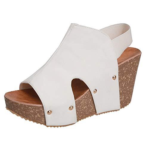 Sandales Femmes Summer Ankle Strap Platform Wedge Sandals Thick Gladiator Shoes (36,Blanc)