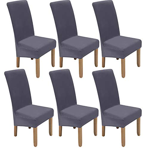 Colorxy Large Velvet Spandex Chair Covers for Dining Room Set of 6, Soft Stretch Chair Protectors Slipcovers, Removable and Washable, Sliver Grey