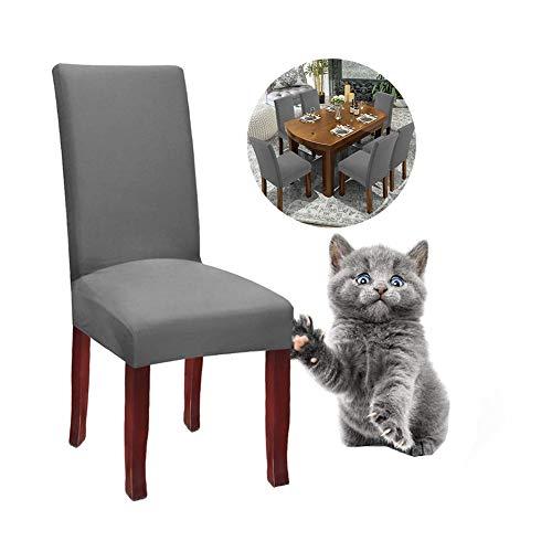 JunYito Stuhlhussen 4er 6er Elastische Set Stuhlhussen Universal Stretchhusse Stuhlbezug Stretch für Stuhl Esszimmer (F-Grau, 4 Stücke)
