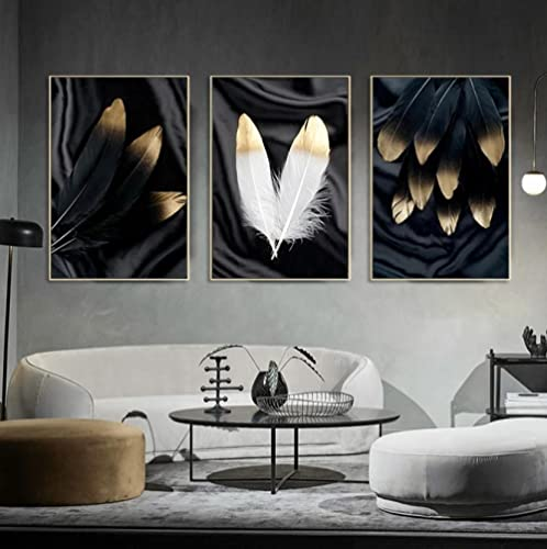 Cuadros Impresión de Imagen Pluma dorada blanca negra Impresiones Sobre Lienzo Cuadros...