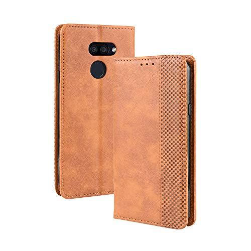 Dedux Flip Hülle kompatibel mit LG K40S, Retro Leder Brieftasche Abdeckung Magnetverschluss Folio Ständer Kartensteckplätze Handyhülle, Braun