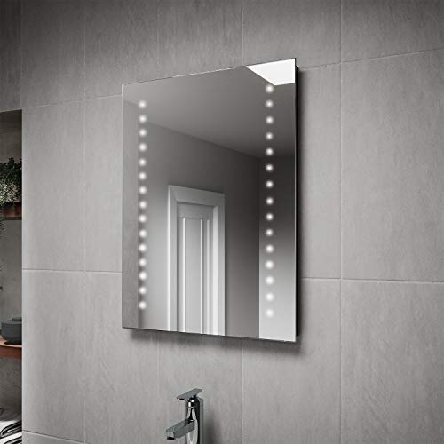 Pebble Grey Aurora Illuminated LED Bathroom Mirror with built-in Shaver Socket and Bluetooth Speakers | Heated Demister Mirror Pad | Motion Sensor Switch | 500 x 700 | IP44 Rated | 10 Year Warranty