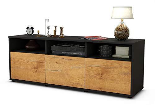 TV Schrank Lowboard Andrina, Korpus in anthrazit matt / Front im Holz Design Eiche (135x49x35cm), mit Push to Open Technik, Made in Germany