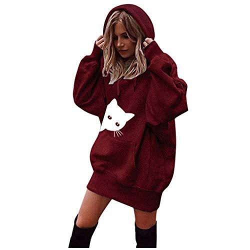 JURTEE Damen Winter 2019 Neu Frauen Katzen Druck Kleidung Hoodies Pullover Mantel Hoody Sweatshirt