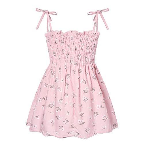 Aiihoo Vestido de verano para niñas pequeñas sin mangas, chaleco de tirantes floral princesa, vestido de verano, Floral Rosado, 4-5 Años