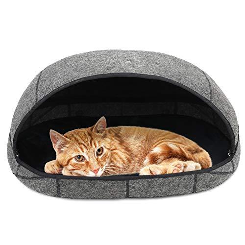 Barbieya - Cueva para Cama de Gato (Grande), Camas respetuosas con el Medio Ambiente, 100% Lana de Merino para Gatos, Cama para Gatos Hecha a Mano, Cueva Plegable para Gatos y Gatos