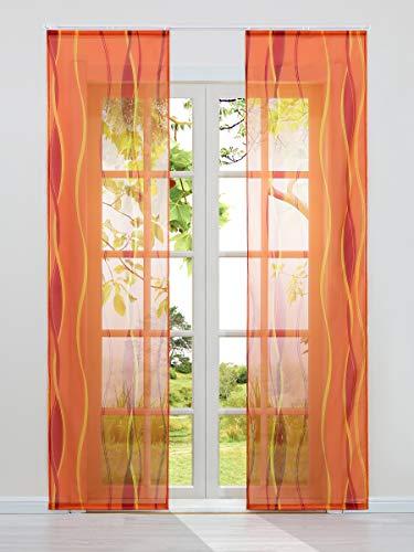 Heichkell 2-TLG Voile Schiebegardine Flächenvorhänge mit Wellendruck Transparente Dekogardinen inkl. Klettband und Befestigungszubehör Orange 2X 140x245 cm