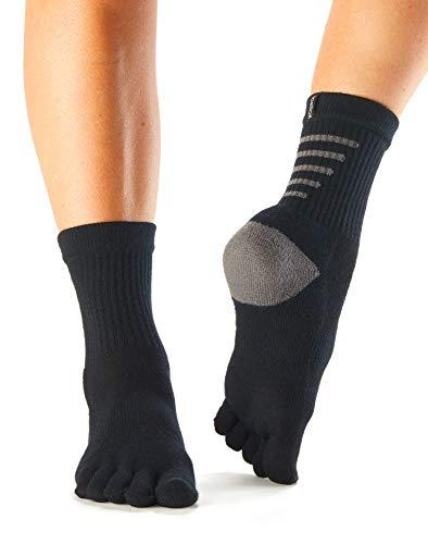 Toesox Toesl Calcetines Deportivos Unisex para Adulto (Talla L), Color Negro