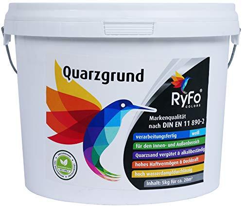 RyFo Colors Quarzgrund 5kg (Größe wählbar) - Profi Putzgrund weiß als Putzgrundierung für einen extrem griffigen Untergrund, innen und außen, gebrauchsfertig, zertifiziert