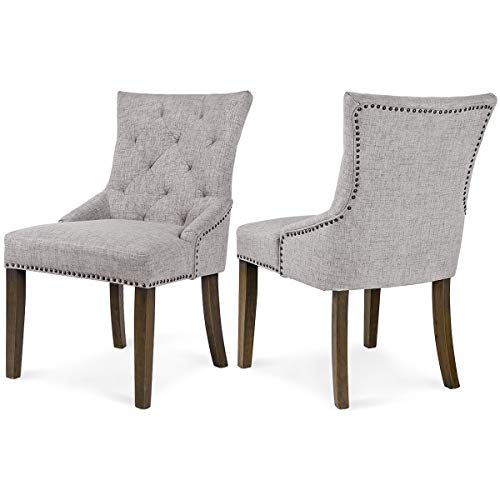 Merax Dining Chair with Armrest, Nailhead Trim, Linen Upholstery Set of 2 (Gray)