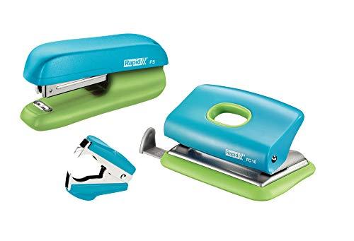 Rapid 5000370 Set heftgerät (F5 plus LoFC10, Entklammerer C2, SB) blau/grün