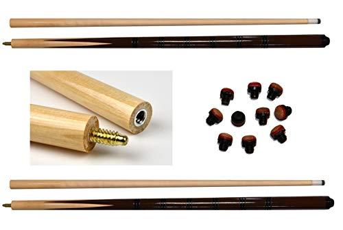 Wagner Automaten Stecca da biliardo, 2 pezzi, Eco in un bel look + 10 viti di ricambio (nero/marrone)
