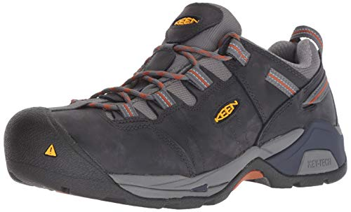KEEN Utility Men's Detroit XT Low Steel Toe Work Shoe Industrial Boot, Navy Peacoat/Leather Brown, 11 Medium US
