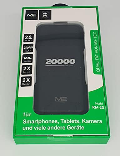 M2 TEC 20000 Powerbank - Batería externa de 20000 mAh con entrada USB-C, entrada micro de entrada y 2 entradas USB de gran densidad de energía, compatible con iPhone, Samsung, iPad y más