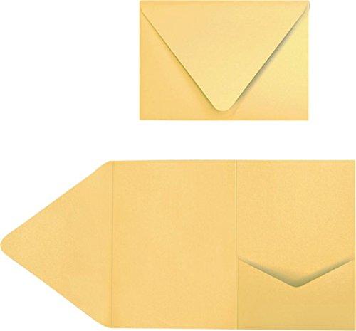 A7 Pocket Invitations (5 x 7) - Gold Metallic (50 Qty)   Perfect for Invitation Suites, Weddings, Announcements, Sending Cards, Elegant Events   Printable   EX10-LEBAGMPF-50