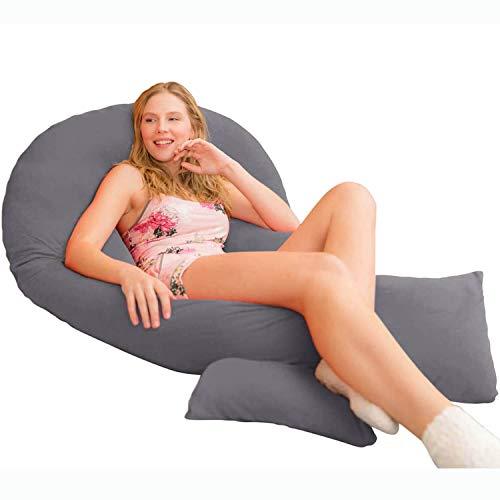 Traumreiter Jumbo XXL Seitenschläferkissen mit Kissenbezug Graphit-grau I Schwangerschaftskissen U Form Full Body Pillow Seitenschläfer Kissen