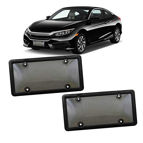 VaygWay Smoked Car Plate Cover- Frames Shields Combo Screws Included-Unbreakable Tinted Fits US Standard Plates 2 Pk Novelty Bubble Design Covers